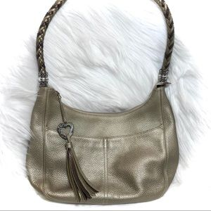 Brighton Barbados Gold Metallic Bag in Zinc Pearl